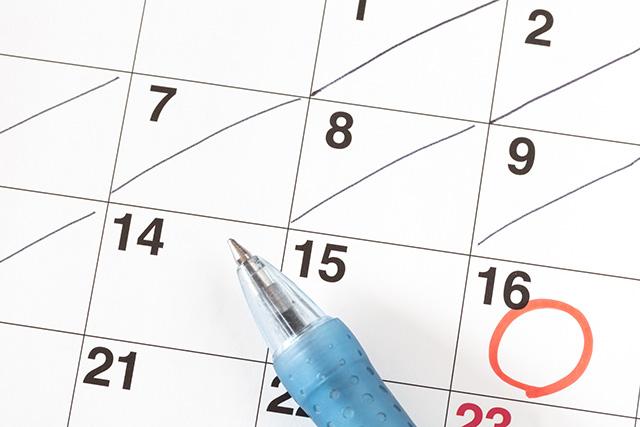 印がついたカレンダー