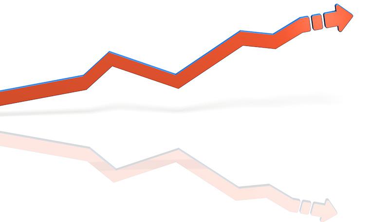 右肩上がりの折れ線グラフ