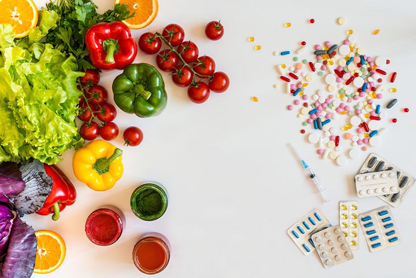 野菜と果物と薬品